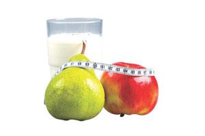 γάλα και φρούτα και μεζούρα