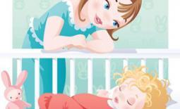μαμά πάνω απο την κούνια
